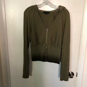 Express Olive Ombré Cropped Hoodie Size Large